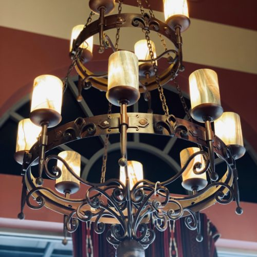 Double Flor De Lis Chandelier with Onyx shades