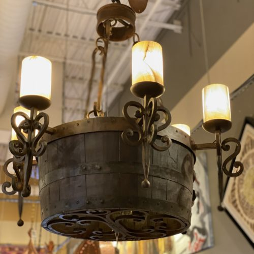 Tequila Barrel Chandelier with Onyx Shades