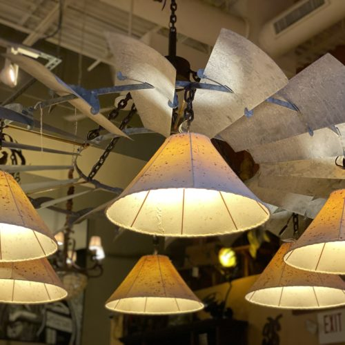 Windmill Chandelier with Sheep Skin Shades