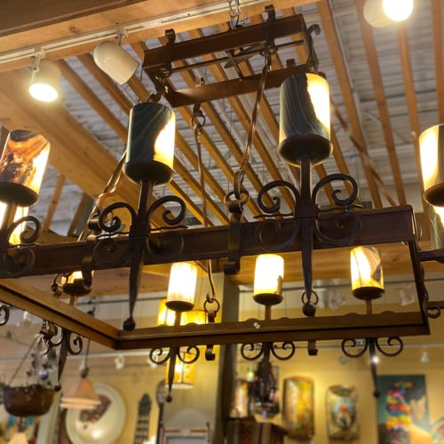 Rectangular Forged Iron Chandelier with Onyx Shades