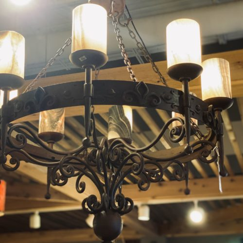 Flor De Lis Chandelier with Onyx Shades