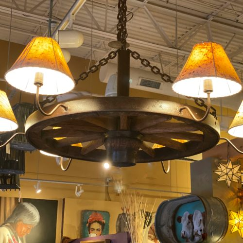 Wagon Wheel Chandelier with Sheep Skin Shades