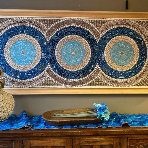 "Huichol Yarn & Tule Wall Art: ""Blue Skies"""