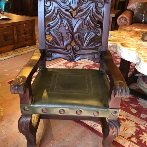 Carved Mango Wood Armchair in Green