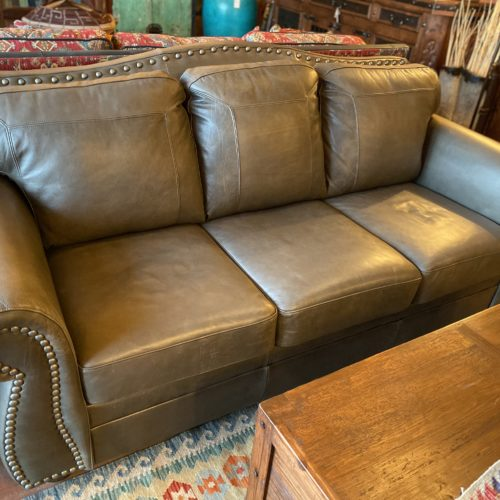 """""""The Look"""" Grey Taupe Leather Sofa"""