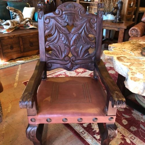 Carved Mango Wood Armchair