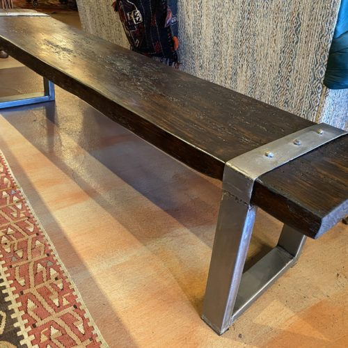 Old Viga Backless Bench on Brushed Steel Base