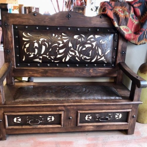 Charro Tooled Leather Bench