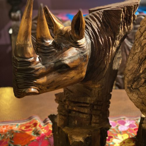 hand carved rhinoceros