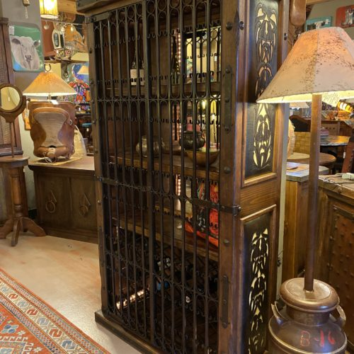 Two-Tone Tooled Leather & Gates Wine Rack