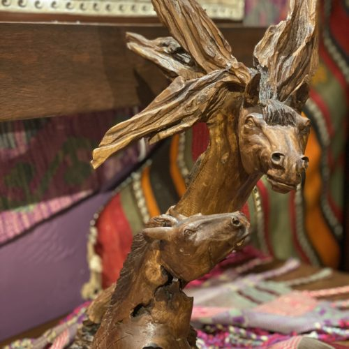 Hand-carved mare & Foal