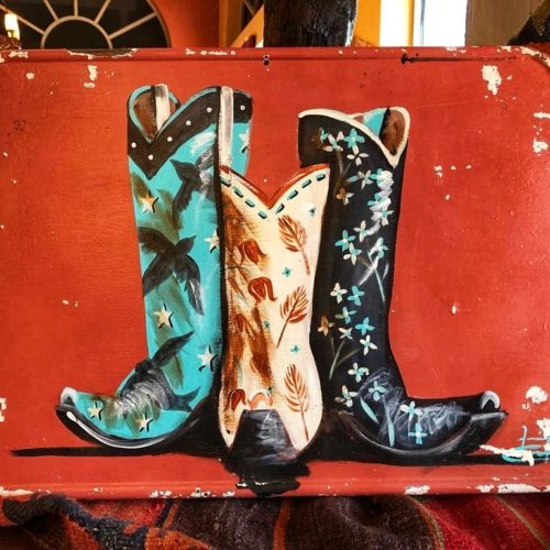 Hand-Painted Cowgirls Boots on Metal Lid