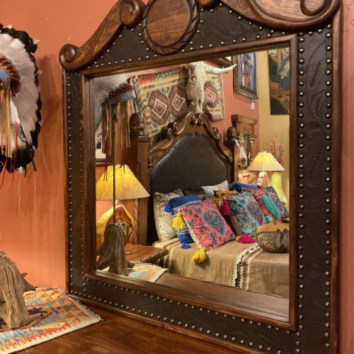 Oscar Tooled Leather Mirror