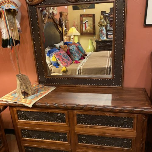Oscar Tooled Leather Dresser Set in Café (doable in Yellow)