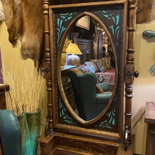 Hacienda Two-Tone Tooled Leather Free Standing Mirror