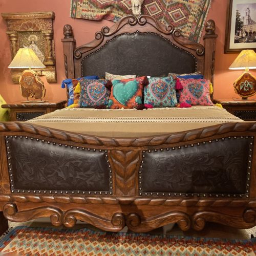 Oscar Tooled Leather Bed in Café