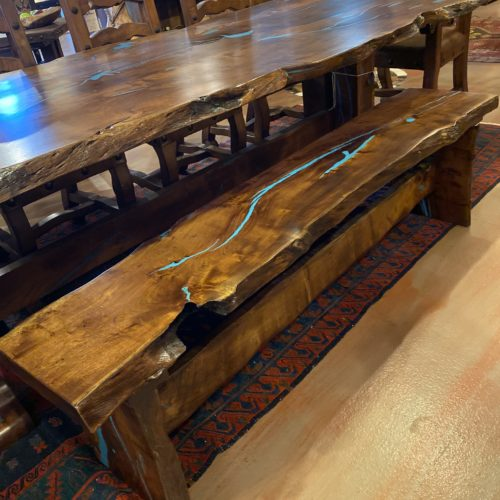 Free Form Mesquite Turquoise Inlay Backless Bench