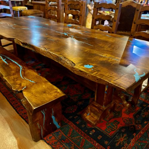 Free Form Mesquite Turquoise Inlay Table