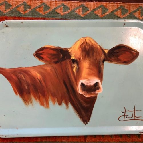 Hand-Painted Farm Scene. The Brown Cow