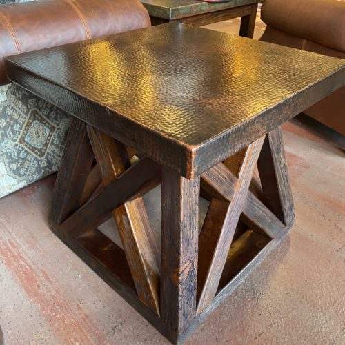 Crisscross Copper Top End Table