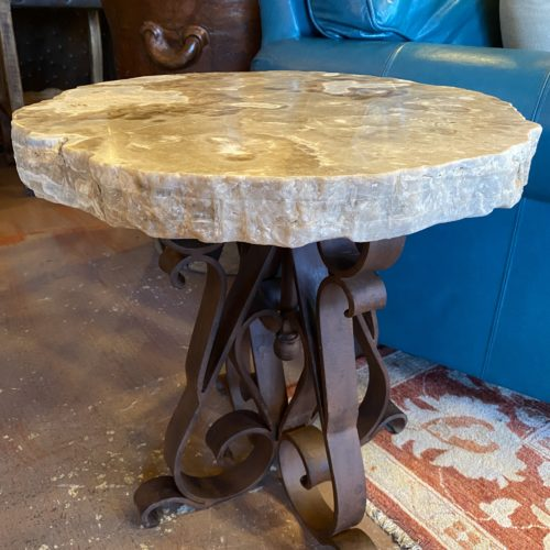 Onyx Top End Table on Iron Base