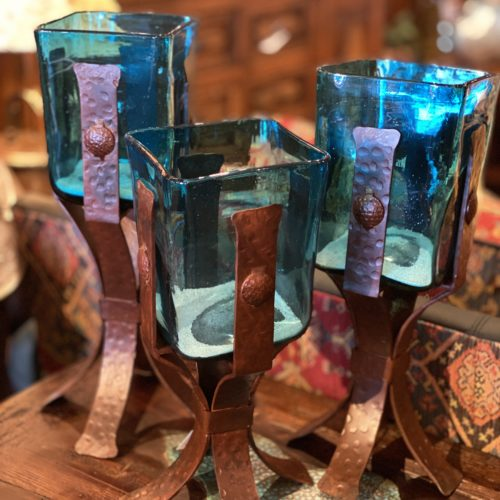 Set of Blown Glass Candle Holders (turquoise, amber, green or clear)