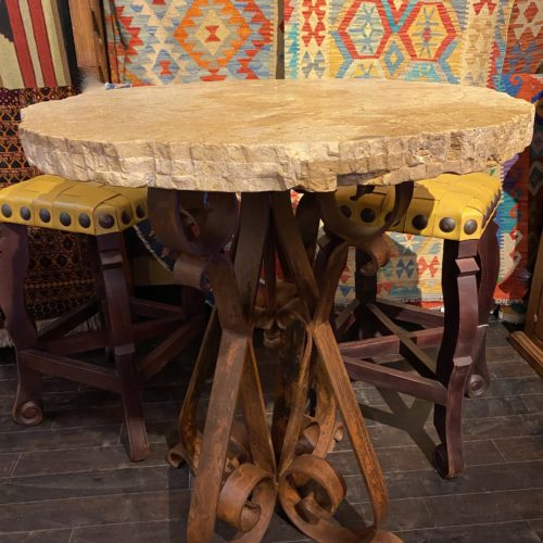 Free Form Travertine Bistro Table