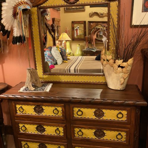 Lone Star Tooled Leather Dresser Set in Yellow