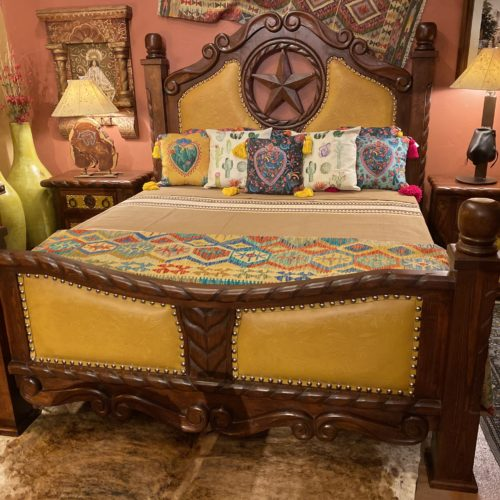 Lone Star Tooled Leather Bed in Yellow
