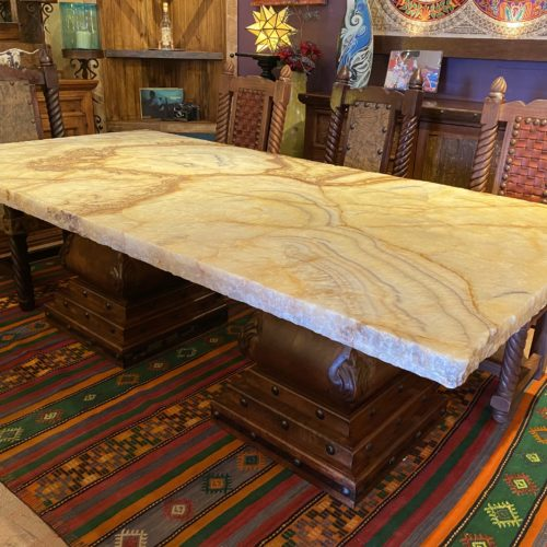 Onyx Table on Mesquite Pedestals