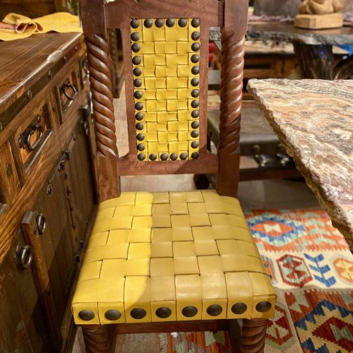 Rey Salomón Woven Leather Chair in Yellow