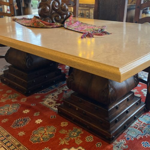 White Marble Table on Mesquite Pedestals