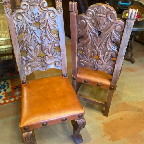Hand-Carved Chair in Red Inglès