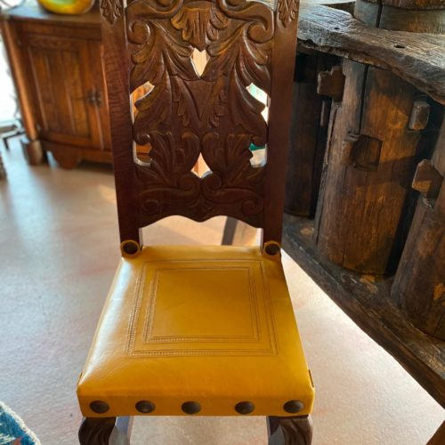 Hand-Carved Chair in Yellow