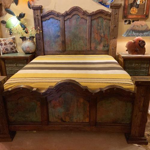 Three Panel Patina Copper Bed