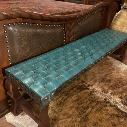 Argentina Woven Leather Backless Bench in Turquoise Verde (doable in other colors)