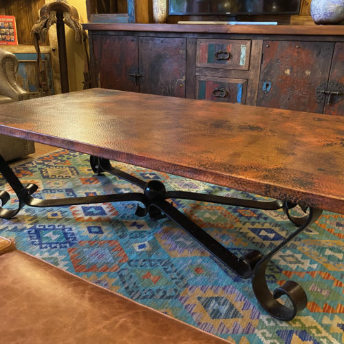 Hammered Copper Coffee Table on Forged Iron Base