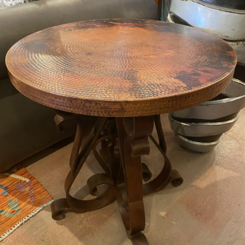 Round Hammered Copper End Table with Forged Iron Base