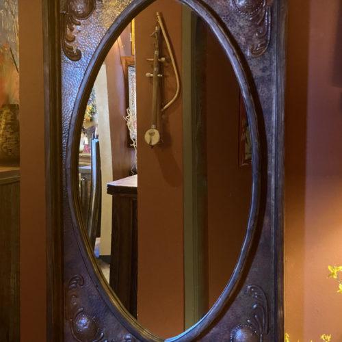 Ornate Copper Oval Mirror