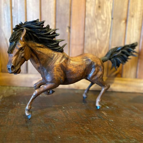Hand Carved Galloping Mustang