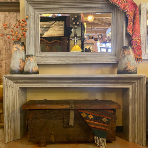 Grey Wash Moldings Console Table Set