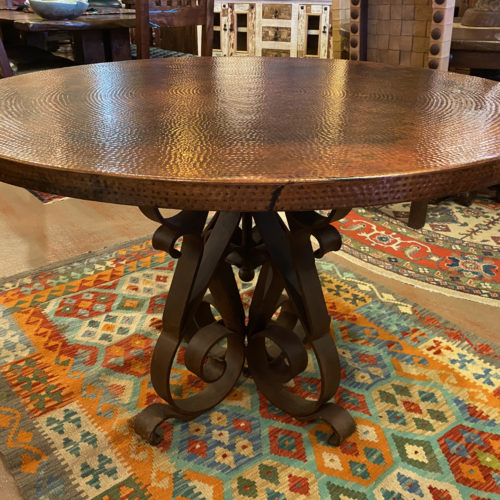 Round Copper Table on Iron Base