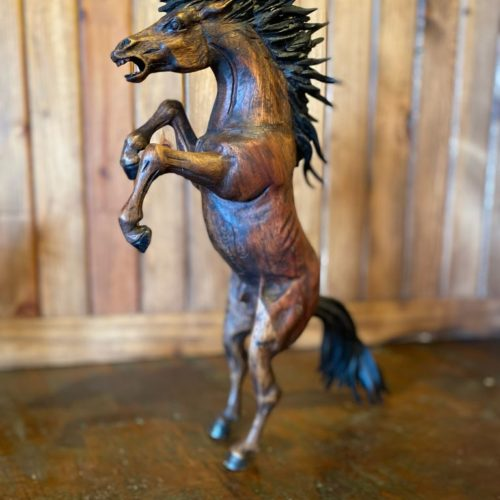 Hand Carved Upright Wild Mustang