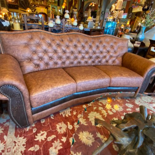 El Dorado Tufted Back Sofa with Croc Embossment
